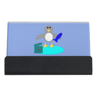 Merry Christmas Fishing Penguin Desk Business Card Holder