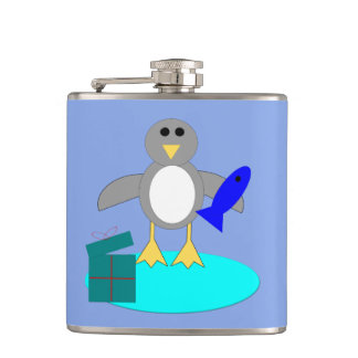 Merry Christmas Fishing Penguin Flask