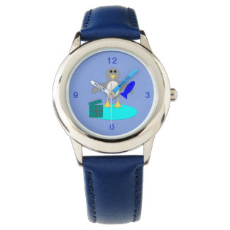 Merry Christmas Fishing Penguin Kids Watch