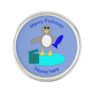 Merry Christmas Fishing Penguin Lapel Pin