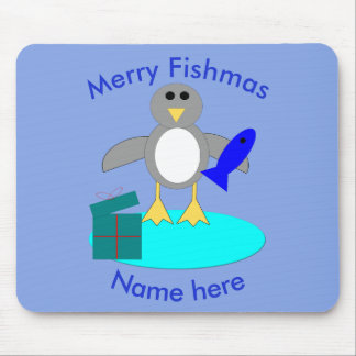 Merry Christmas Fishing Penguin Mousepad