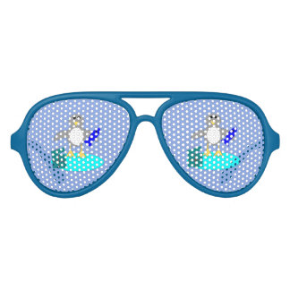Merry Christmas Fishing Penguin Party Shades