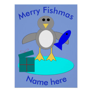 Merry Christmas Fishing Penguin Poster