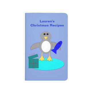 Merry Christmas Fishing Penguin Recipe Journal