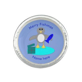 Merry Christmas Fishing Penguin Ring