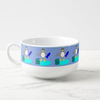 Merry Christmas Fishing Penguin Soup Mug