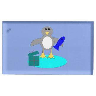 Merry Christmas Fishing Penguin Table Card Holder