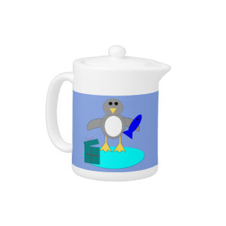 Merry Christmas Fishing Penguin Teapot