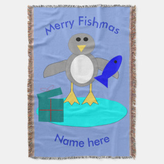 Merry Christmas Fishing Penguin Throw Blanket