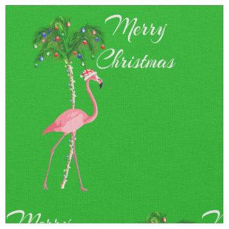 Merry Christmas Flamingo Fabric