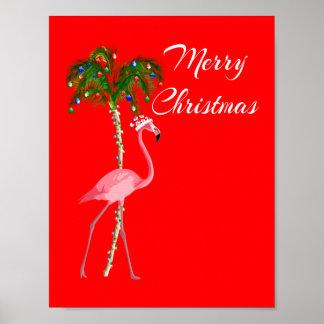 Merry Christmas Flamingo Poster