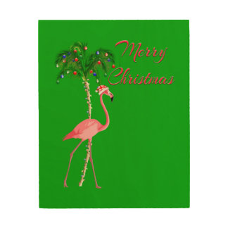 Merry Christmas Flamingo Wood Wall Art