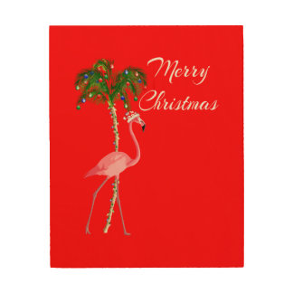 Merry Christmas Flamingo Wood Wall Decor