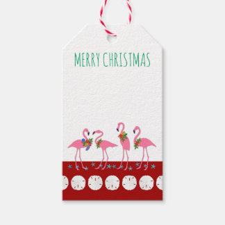 Merry Christmas Flamingos Blank Gift Tags