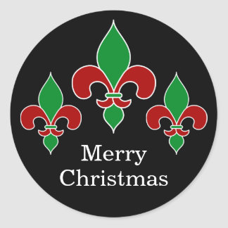 Merry Christmas Fleur de Lis Black Stickers