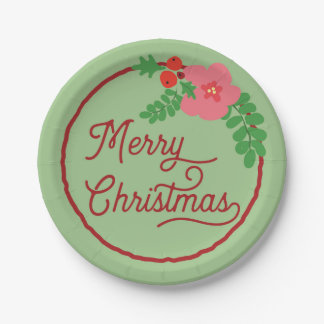 Merry Christmas Flora Paper Plates 7 Inch Paper Plate