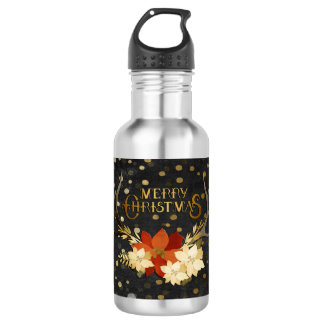 Merry Christmas Floral Antlers Confetti 532 Ml Water Bottle