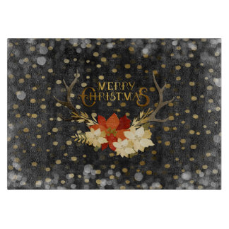 Merry Christmas Floral Antlers Confetti Cutting Board