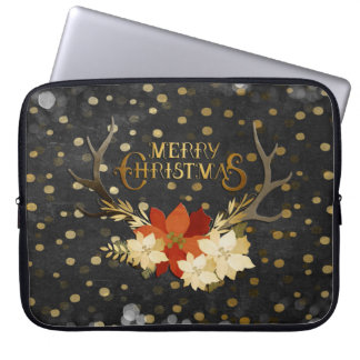 Merry Christmas Floral Antlers Confetti Laptop Sleeve