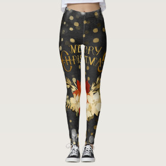 Merry Christmas Floral Antlers Confetti Leggings