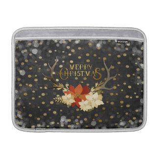 Merry Christmas Floral Antlers Confetti MacBook Air Sleeves