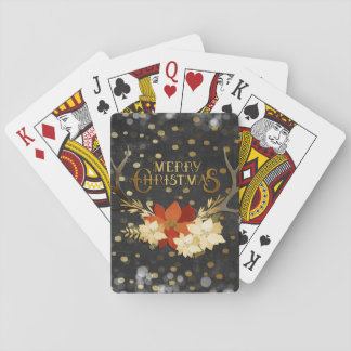 Merry Christmas Floral Antlers Confetti Playing Cards