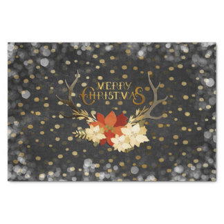 Merry Christmas Floral Antlers Confetti Tissue Paper