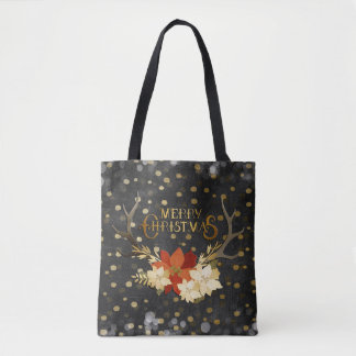 Merry Christmas Floral Antlers Confetti Tote Bag