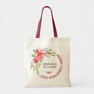 Merry Christmas Floral Flowers Bouquet & Text Tote Bag