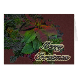 Merry Christmas Floral Poinsettia Series Greeting Card