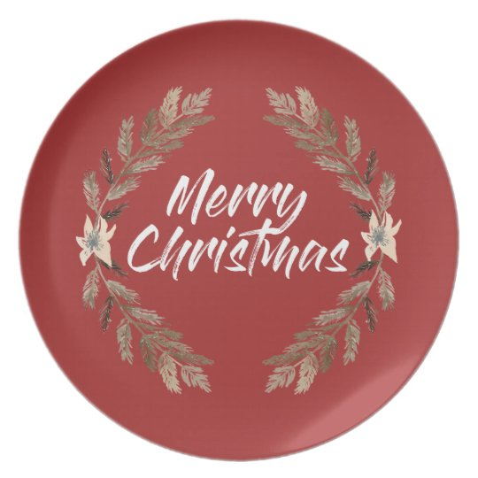merry christmas floral red Plate