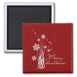 Merry Christmas floral snowflakes illustration Refrigerator Magnets