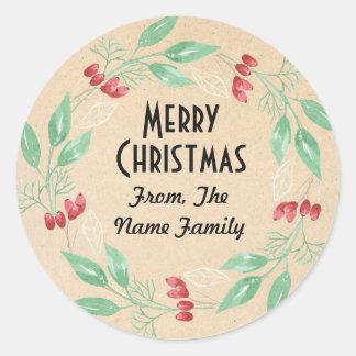 Merry Christmas Flower Wreath Xmas Paper Sticker