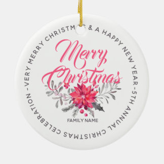 Merry Christmas Flowers Bouquet & Typography Ceramic Ornament