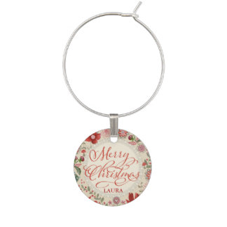 Merry christmas Flowers - Wine Charm
