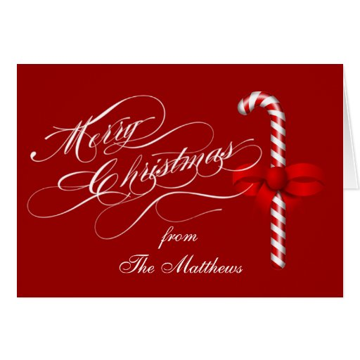 Merry Christmas Folded Holiday Card Candy Cane