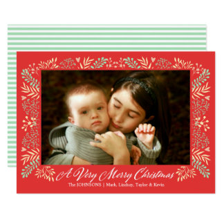 Merry Christmas Foliage Frame Holiday Photo Card