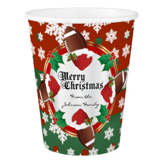 Merry Christmas Football Lovers Paper Cup