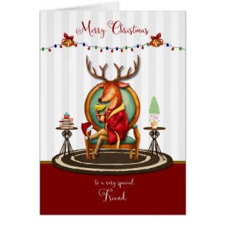 Merry Christmas for Friend Fun Reindeer Card