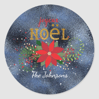 Merry Christmas French Blue Navy Glass Glitter Round Sticker
