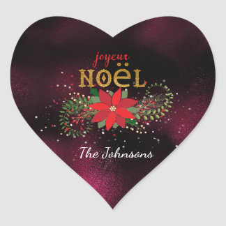 Merry Christmas French Burgundy Heart Glass Heart Sticker