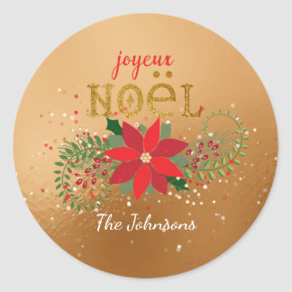 Merry Christmas French Golden Glass Glitter Round Sticker
