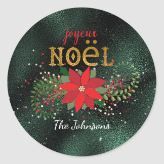 Merry Christmas French Green Glass Glitter Round Sticker