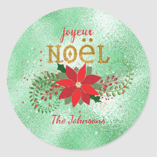 Merry Christmas French Mint Glass Glitter Round Sticker