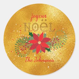 Merry Christmas French Orange Glass Glitter Classic Round Sticker