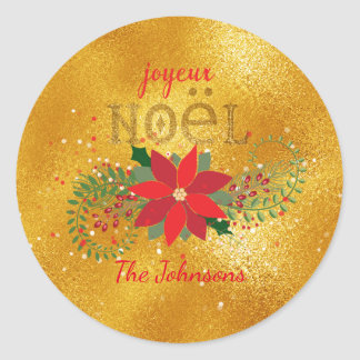 Merry Christmas French Orange Glass Glitter Round Sticker