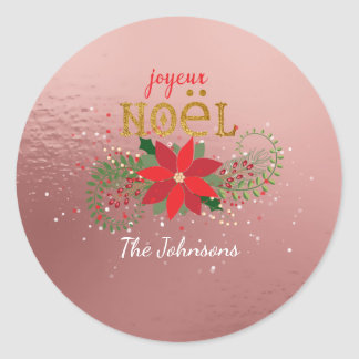 Merry Christmas French Pink Rose Gold Round Sticker