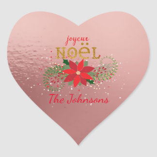Merry Christmas French Pink Rose Heart Heart Sticker