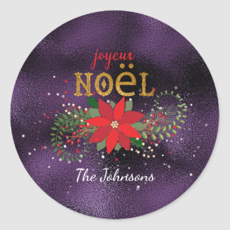 Merry Christmas French Purple Plum Glass Classic Round Sticker