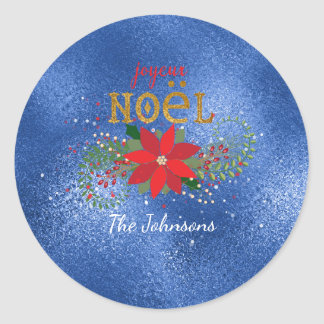 Merry Christmas French Sapphire Glass Glitter Round Sticker